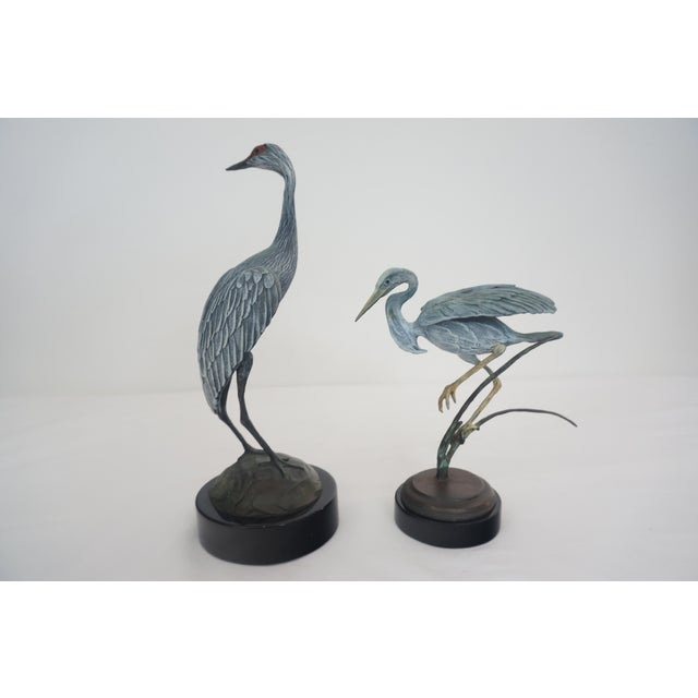 Bronze Crane and Heron Sculptures - A Pair - Image 4 of 7