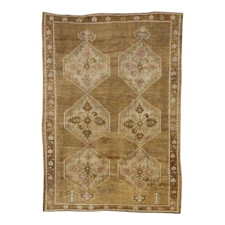 Vintage Turkish Kars Oushak Rug with Modern Design and Neutral Colors For Sale