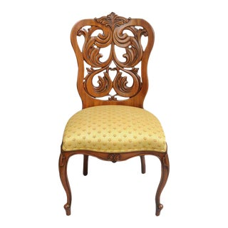 Mid 19th Century Rococo Revival Victorian Laminated Walnut Scroll Slipper Chair For Sale