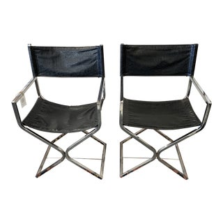 Vintage Mid Century Italian Director Chrome Frame Chairs- A Pair For Sale