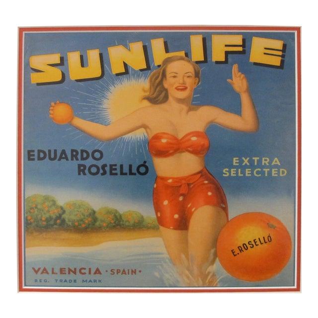 1920's Original Vintage Spanish Fruit Crate Label - Sunlife - Eduardo Rosello - Extra Selected - Valencia Spain For Sale