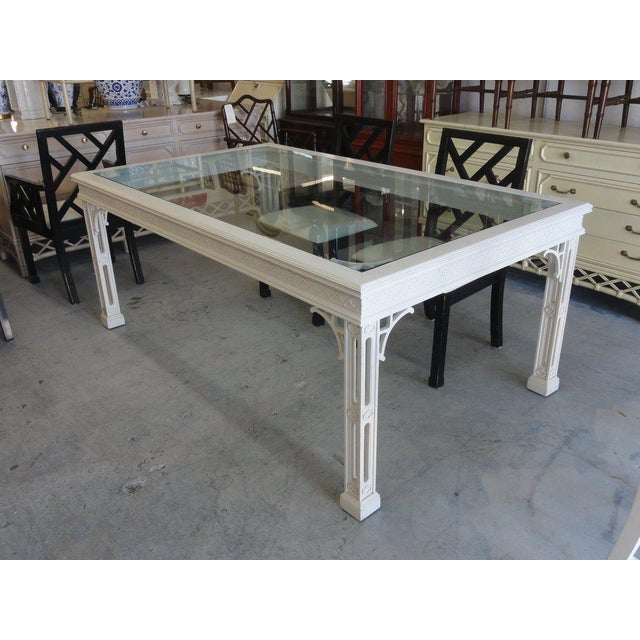 Palm Beach Fretwork Dining Table For Sale - Image 4 of 12