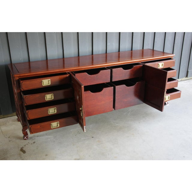 Chinoiserie Rosewood Credenza With Brass Pulls For Sale - Image 4 of 11
