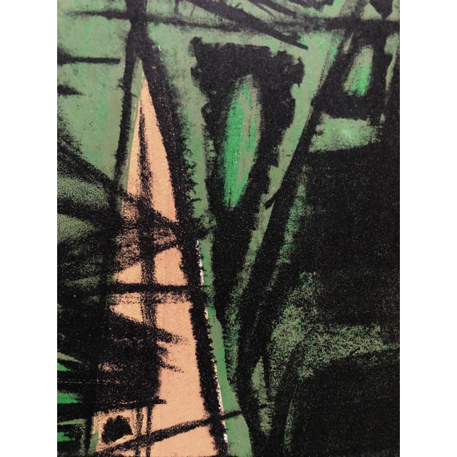 """Jerry Opper Abstract in Greens 1940-1950's Stone Lithograph on Paper 19.25""""x13.75"""", Unframed Came from a portfolio of his..."""