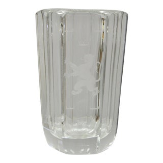 Early 20th Century Vintage Kosta Boda Elis Bergh Etched Rampant Lion Crystal Glass Vase For Sale