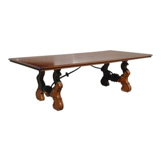 Henredon Vintage Spanish Style Dining Table W Trestle Stretcher ~ Conference Table For Sale