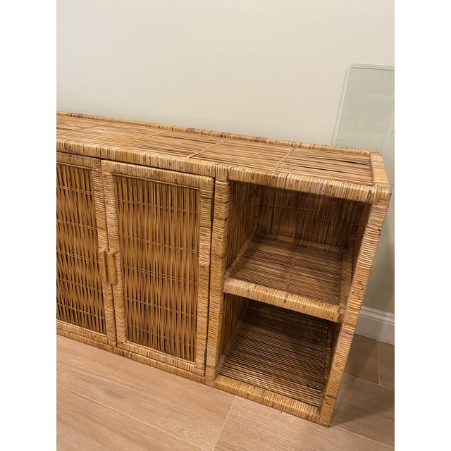 Boho Chic Vintage Palm Beach Boho Chic Wicker Rattan Shelving Unit For Sale - Image 3 of 12