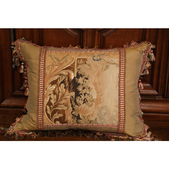 Silk Handmade French Pillow With 19th Century Aubusson Verdure Tapestry Fragment For Sale - Image 7 of 10