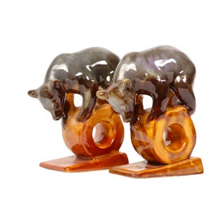 Art Pottery Circus Bear Bookends - A Pair For Sale