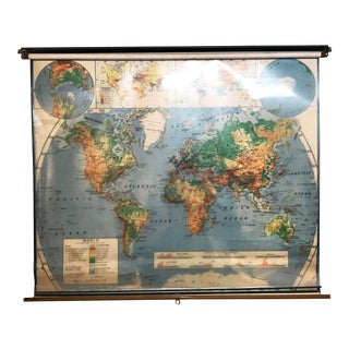 Vintage Mid Century Nystrom Pull Down World Map With Overlay For Sale