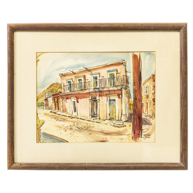 Vintage Framed Watercolor of Alamos, Mexico by Bruce Marshall For Sale