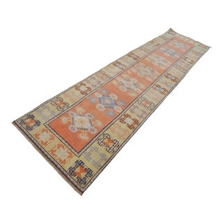 1970s Contemporary Modern Decor Yellow Color Oushak Rug, Muted Colors Turkish Runner, Area Rugs Antique Carpet, Farmhouse Hallway Rug 2.4 X 9.3ft.