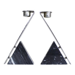 Vintage Chrome & Marble Candle Holders - A Pair