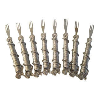 1970s Silverplate Cocktail Forks - Set of 8 For Sale