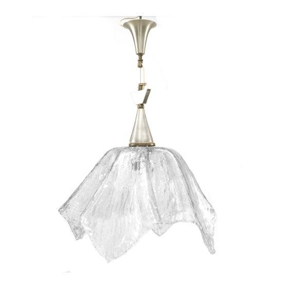 "Mid-Century Modern Italian 1950s Murano ""Rugiada"" Clear Textured Glass Handkerchief Form Lantern For Sale - Image 3 of 3"