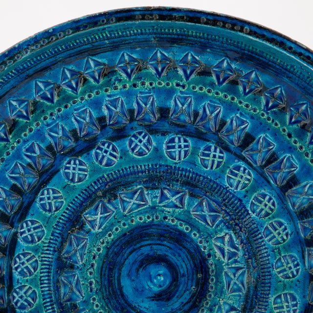"Blue ceramic centerpiece bowl or platter from Aldo Londi's iconic ""Rimini Blu"" series for Bitossi, circa 1960s. Variations..."