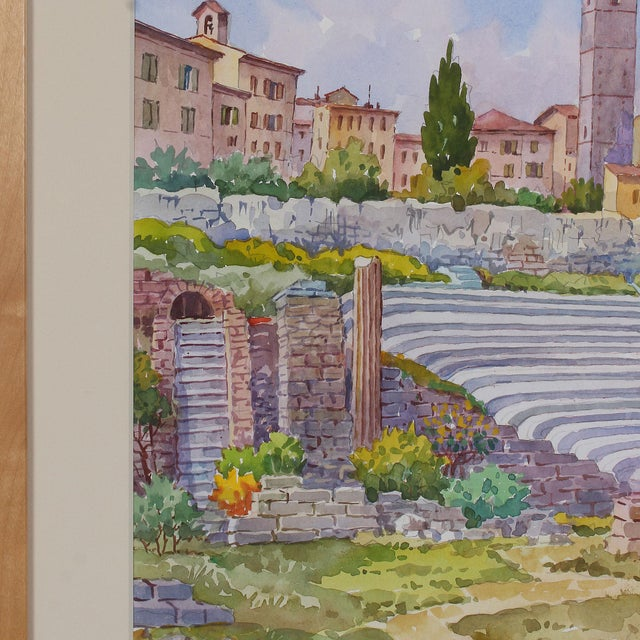 Vintage Italian Watercolor of Fiesole For Sale - Image 4 of 8