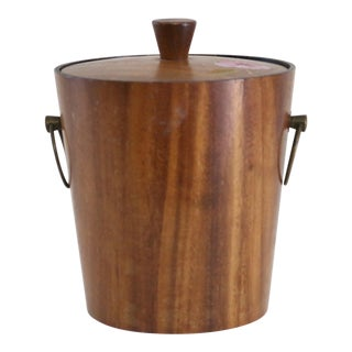 Mid-Century Wood Ice Bucket With Lid