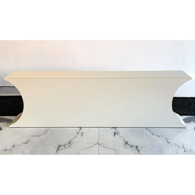 Mid-Century Modern Postmodern Geometric Laminate Console Table For Sale - Image 3 of 6