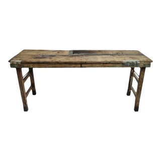Vintage Old Farm Folding Table For Sale
