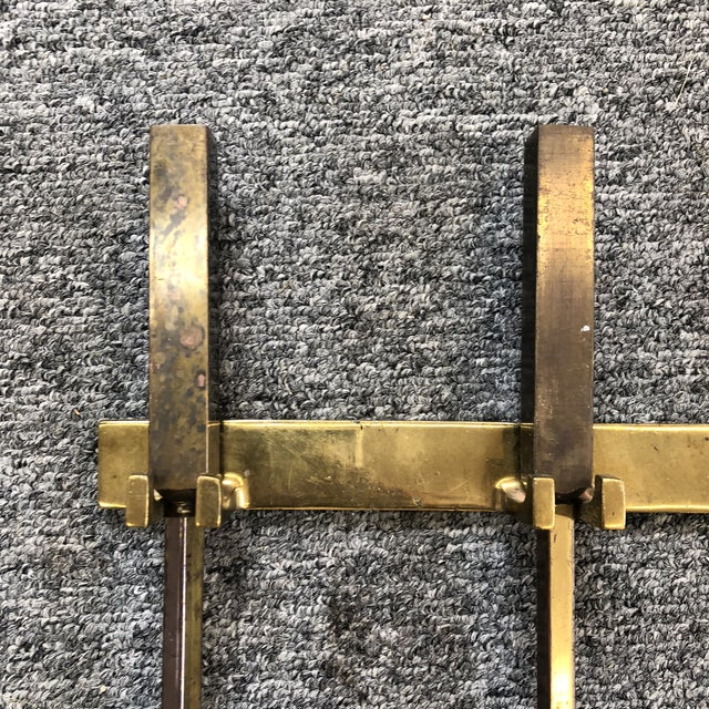 Mid-Century Modern Hanging Brass Modernist Fire Tools For Sale - Image 3 of 6