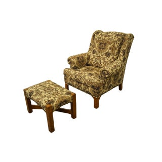 Late 20th Century Stickley Furniture Floral Upholstered Wing Back Arm Chair & Ottoman For Sale