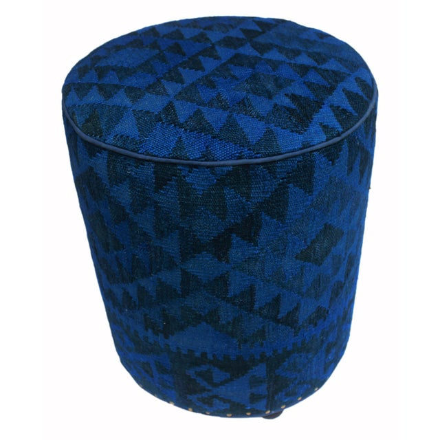 Textile Arshs Deandrea Blue/Drk. Blue Kilim Upholstered Handmade Ottoman For Sale - Image 7 of 8