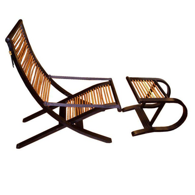 David Colwell Trannon C1 Reclining Lounge Chair and Ottoman Rattan For Sale - Image 10 of 10
