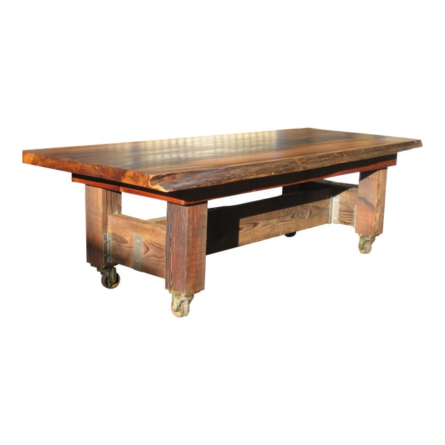 Hand Crafted Live Edge Red Cedar Slab Table For Sale