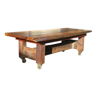 Solid Live Edge Red Cedar Slab Table For Sale