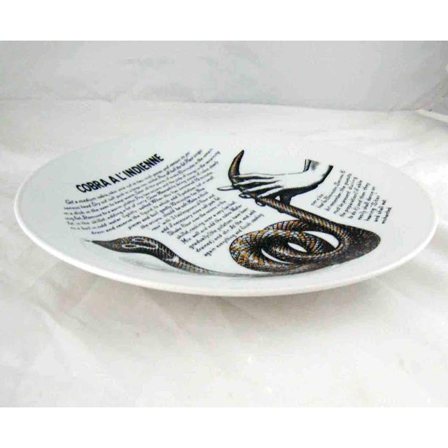 Ceramic Piero Fornasetti 1960's Cobra a L'Indienne Improbable Recipe Plate for Fleming Joffe For Sale - Image 7 of 8