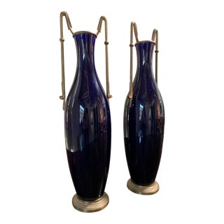 French Sevres Style Cobalt Urns With Bronze Dore Handles - A Pair For Sale