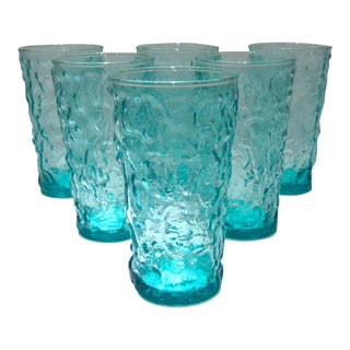 Aqua Crinkle Textured Tumblers - Set of 6 For Sale
