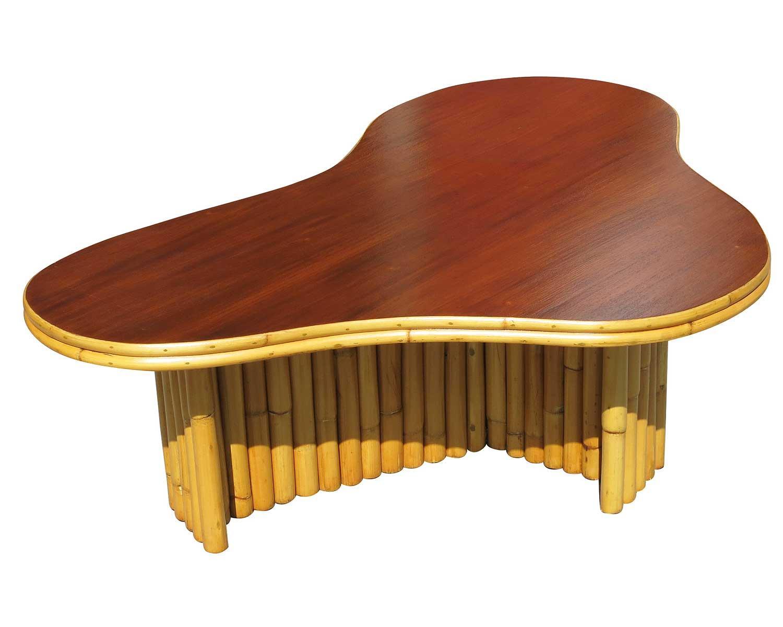 Biomorphic Amoeba Rattan Mahogany Coffee Table Chairish