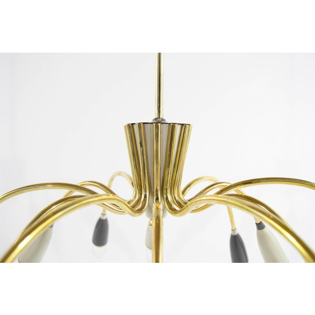 Mid-Century Modern Mid-Century Modern Brass Sputnik Chandelier For Sale - Image 3 of 9