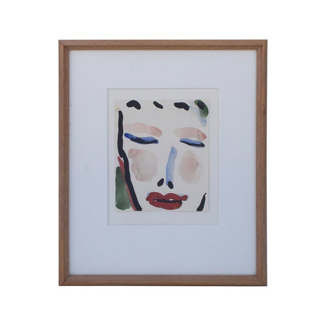 Gestural Watercolor of a Female Face For Sale - Image 6 of 6