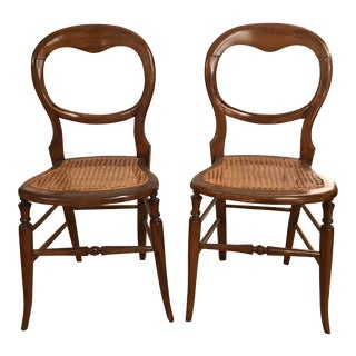 Antique Boudoir Cane Bottom Side Hall Accent Wooden Chairs - a Pair For Sale