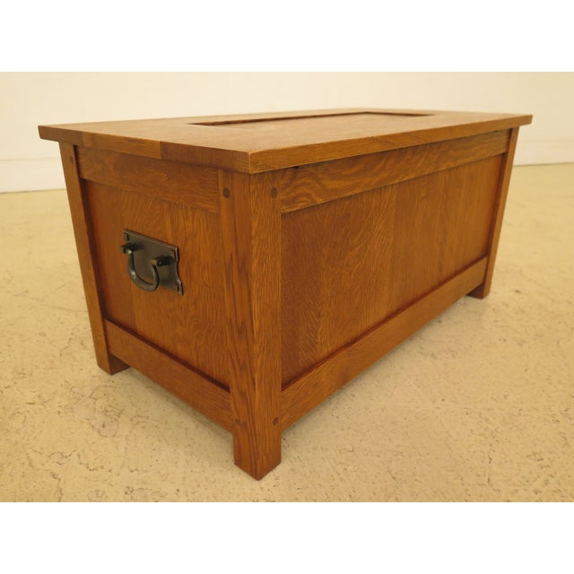 2000 - 2009 Arts & Crafts Stickley Inlaid Top Oak Blanket Chest For Sale - Image 5 of 13