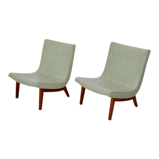 Original Pair of Milo Baughman Scoop Lounge Chairs USA , 1950s For Sale