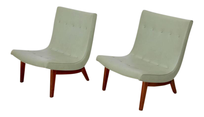 Beautiful Original Pair Of Milo Baughman Scoop Lounge Chairs USA , 1950s   Image 1 Of  6