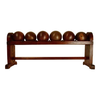 Lignum Vitae Antique Bowling Balls in Rack - Set of 6 For Sale