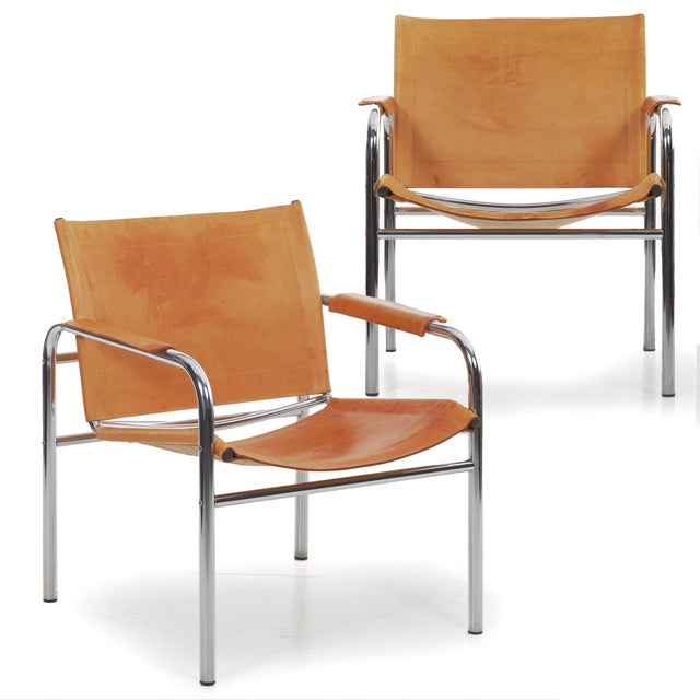 """Circa 1970s Vintage Chrome and Leather """"Klint"""" Arm Chairs by Tord Bjorklund - a Pair For Sale - Image 13 of 13"""