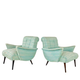 Pair of Seafoam Green Midcentury Lounge Chairs For Sale