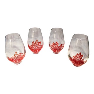 1960s Italian Murano Red Blown Glass Tumblers - Set of 4 For Sale