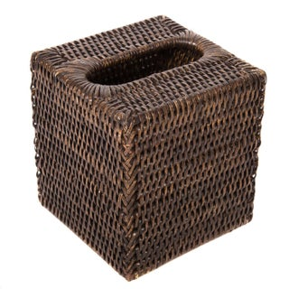 Boho Chic Artifacts Rattan Column Tissue Box For Sale