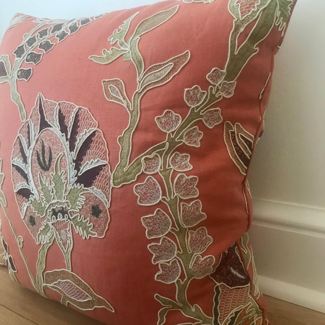 Custom Embroidered Pillows With Down Fill - A Pair - Image 3 of 7