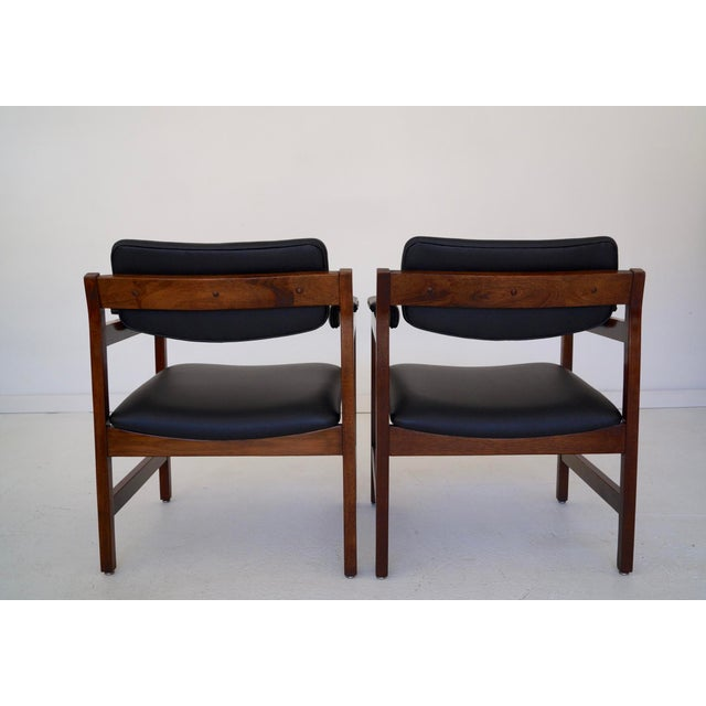 Mid-Century Walnut Arm Chairs - a Pair For Sale In Los Angeles - Image 6 of 11