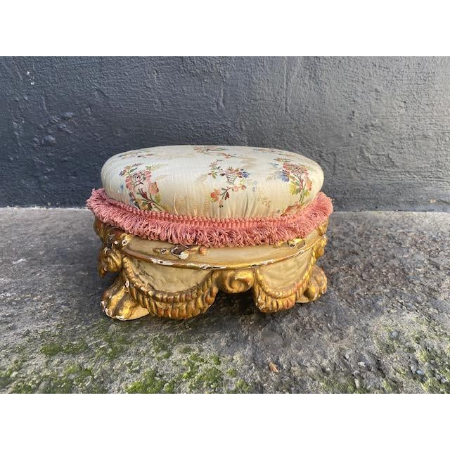 Early 18th Century Vintage Giltwood Italian Carved Foot Stool For Sale - Image 9 of 9