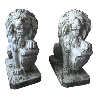 1940s Vintage Stone Lion Garden Statues - a Pair For Sale