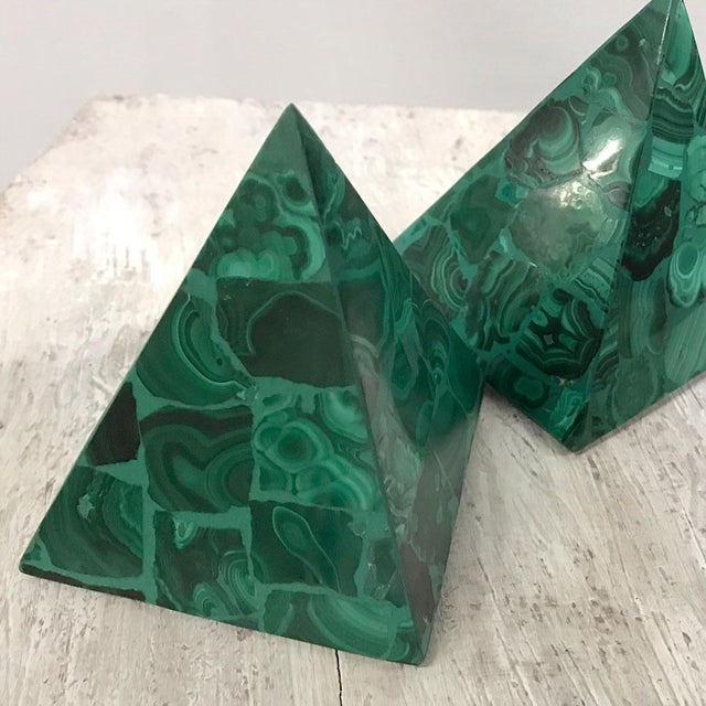Striking pair of malachite tabletop decor pieces, circa 1970s. Malachite is brilliant green. Matched pair. Gorgeous...
